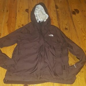 Brown northface rain coat